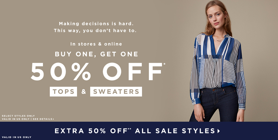 BUY ONE, GET ONE 50% OFF* TOPS> & SWEATERS>