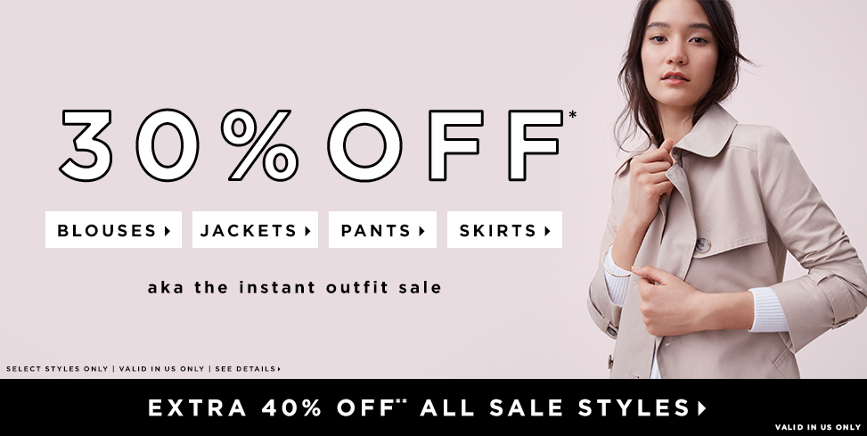 30% OFF* BLOUSES, JACKETS, PANTS & SKIRTS>