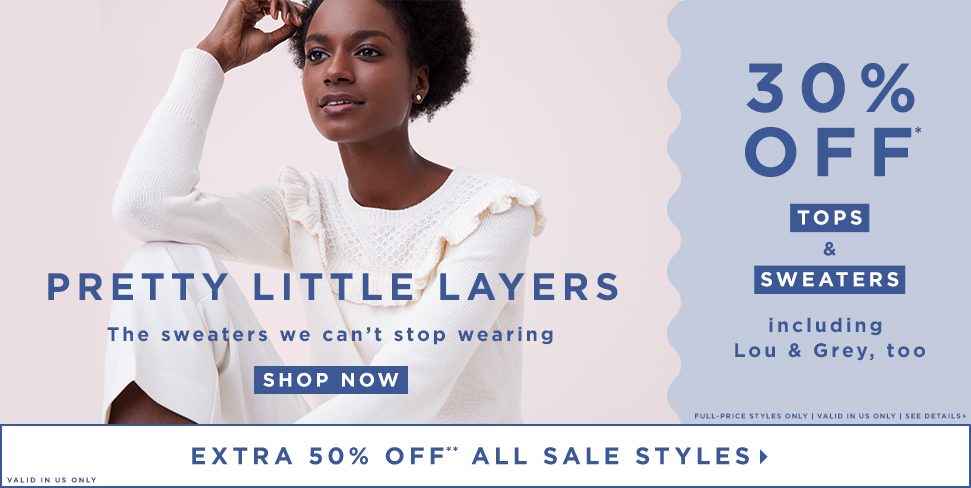 30% OFF* TOPS & SWEATERS